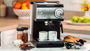 hamilton beach 15bar italian pump espresso maker black and stainless